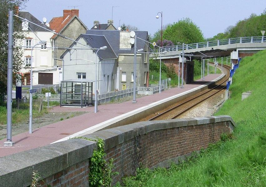 Gare de Pont-Hébert sur la ligne de chemin de fer de Lison à Rennes.