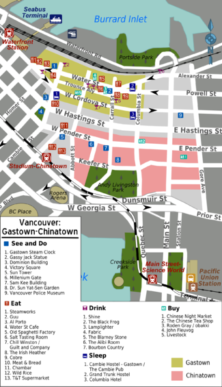 Vancouvergastown chinatown travel guide at wikivoyage gastown and chinatown sciox Image collections