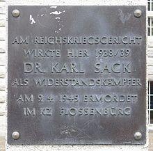 Gedenktafel für Karl Sack am ehemaligen Reichskriegsgericht