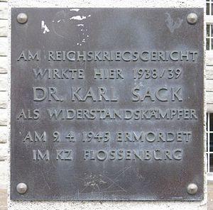 Karl Sack - Plaque to Karl Sack at the former Reichskriegsgericht in Berlin