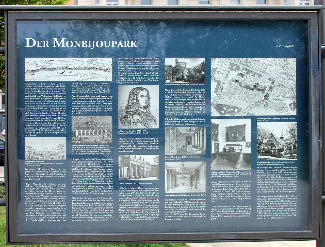 Filegedenktafel Monbijouplatz Mitte Monbijouparkjpg