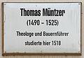 Gedenktafel Schlossstr 26 (Wittenberg) Thomas Müntzer.jpg