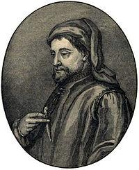Geoffrey Chaucer in un'illustrazione su History of England - Century Edition di Cassel, 1902.