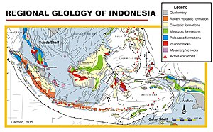 Geology of Indonesia - Image: Geology indonesia map