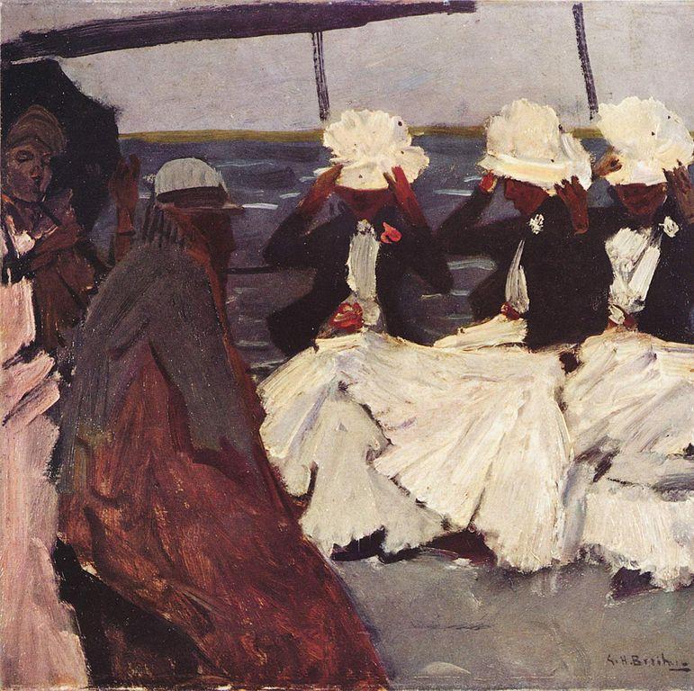 Sur le pont avec trois dames, toiles de Breitner au musée d'art moderne d'Amsterdam.