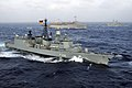 German frigate Niedersachsen (F208) underway with other ships in the Atlantic Ocean on 12 July 2004 (040712-N-7748K-008).jpg
