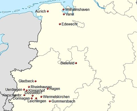 Germany location map Handball 3. Liga West 2012-13 v2.jpg