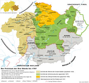 Bündner Wirren - Map of the Three Leagues and surrounding lands