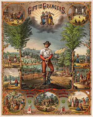 "History of agriculture in the United States - Promotional poster offering a ""gift for the grangers"", ca. 1873."