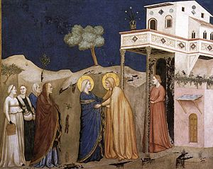 Giotto, Lower Church Assisi, The Visitation 01.jpg