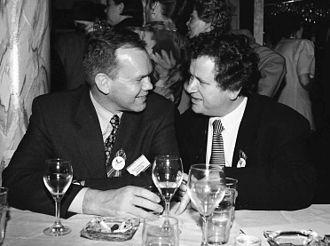 Hannes Hólmsteinn Gissurarson - Hannes Hólmsteinn Gissurarson and Davíð Oddsson at the 1996 general meeting of the Independence Party