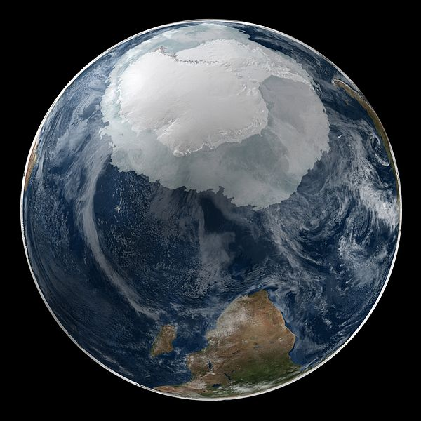 a view of the Earth on September 21, 2005 with the full Antarctic region visible.