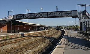Gloucester railway station - The station platforms and old footbridge since replaced