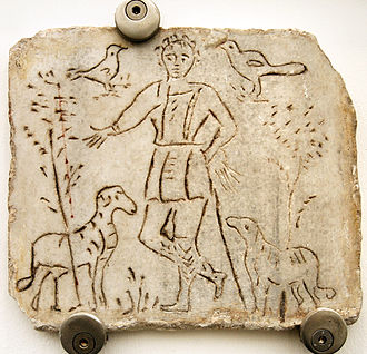 Historical Jesus - Early Christian image of the Good Shepherd. Fourth century.