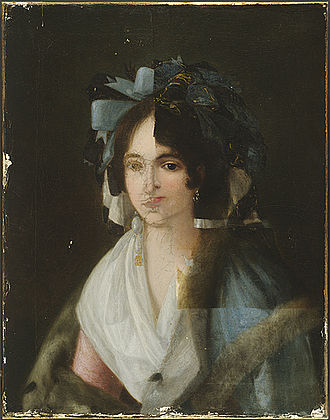 Art forgery - Portrait of a Woman, attributed to Goya (1746-1828). X-ray images taken of this painting in 1954 revealed a portrait of another woman, circa 1790, beneath the surface. X-ray diffraction analysis revealed the presence of zinc white paint, invented after Goya's death. Further analysis revealed that the surface paint was modern and had been applied so as not to obscure the craquelure of the original. After analysis, the conservators left the work as you see it above, with portions of old and new visible, to illustrate the intricacies of art forgery, and the inherent difficulty of detecting it.