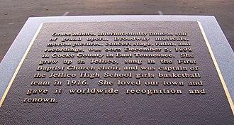 Grace Moore - Grace Moore monument in Jellico, Tenn
