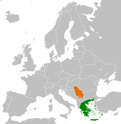 Map indicating locations of Greece and Serbia