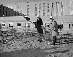 Hart Senate Office Building - Groundbreaking for the Hart Senate Office Building on January 5, 1976. Assistant Architect of the Capitol Mario Campioli (left) and Architect of the Capitol George White (right).