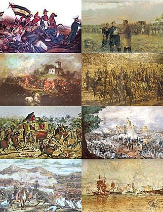 Argentine Civil Wars - From top left: Battle of Arroyo Grande, execution of Manuel Dorrego, Battle of Pavón, death of Juan Lavalle, murder of Facundo Quiroga, Battle of Caseros, Battle of Famaillá, Battle of Vuelta de Obligado.