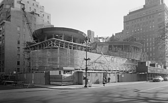 Solomon R. Guggenheim Museum - Museum under construction in photo taken on Nov. 12, 1957