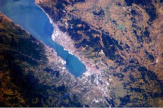Sea of Marmara - This astronaut photograph highlights the metropolitan area of Izmit along the northern and eastern shores of the Sea of Marmara, at the end of the Gulf of Izmit.