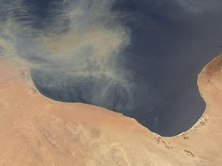 A body of water in the Mediterranean Sea on the northern coast of Libya