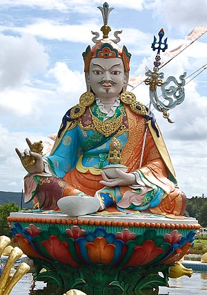 English: Large Guru Rinpoche statue, Samye Ling.