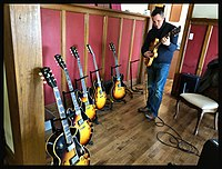 Guy King with vintage Gibsons.jpg