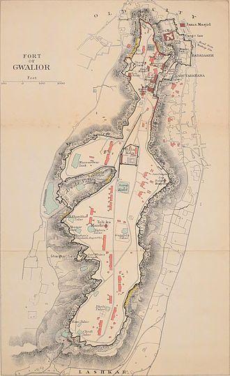 Gwalior Fort - Gwalior Fort map 1911