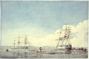 Hudson Strait - The Hudson's Bay Company ships Prince of Wales and Eddystone bartering with the Inuit off the Upper Savage Islands, Hudson Strait; by Robert Hood (1819)