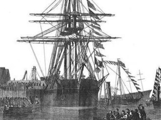 HMS Resolute (1850) - An etching of HMS Resolute from December 1856.