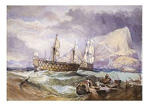 HMS Neptune (1797) - Image: HMS Victory towed into Gibraltar