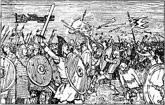 Haakon Sigurdsson - Battle between Haakon Jarl and brothers of Harald Greycloak   Christian Krogh (1899)