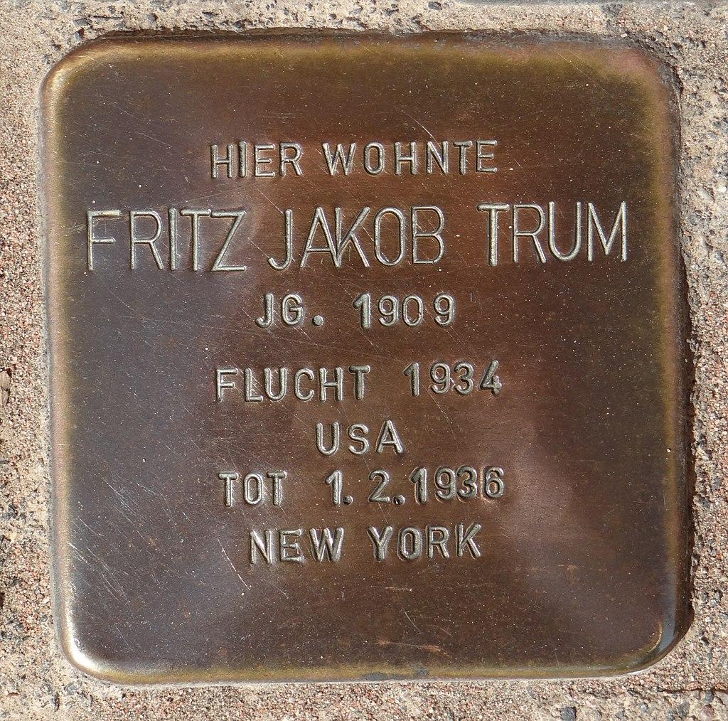 Hahnheim Stolperstein Untere Hauptstraße 2 Fritz Jakob Trum.jpg