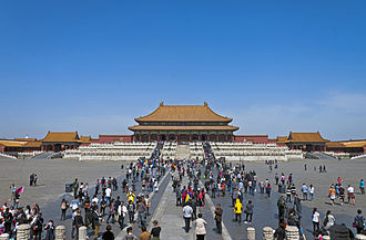 Tourism in China - Tourists inside the Forbidden City, Beijing
