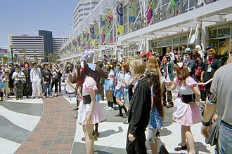 "Haruhi Suzumiya - Some of the Haruhi fanbase performing the ""Hare Hare Yukai"" dance at Anime Expo 2007."