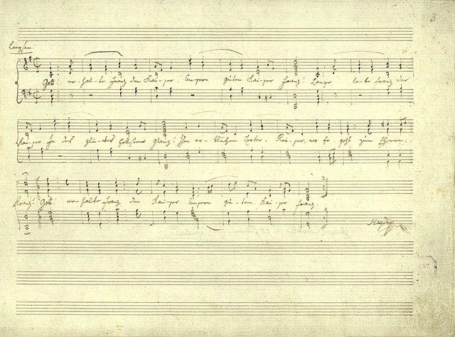 Партитура «Боже, храни императора Франца», написанная рукой Йозефа Гайдна