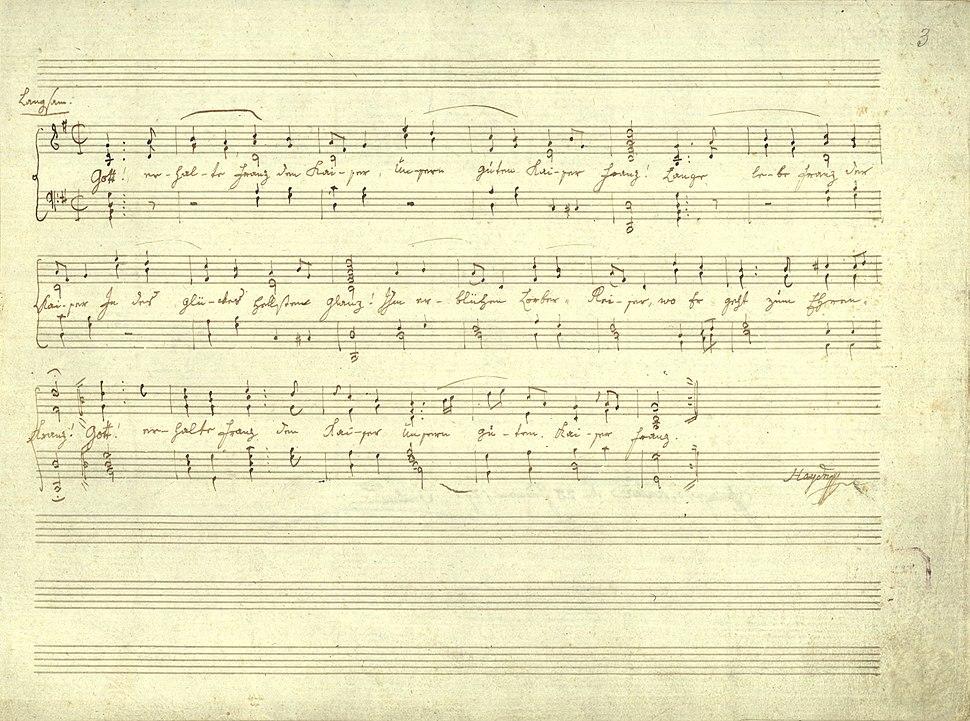 Haydn Kaiserlied Reinschrift