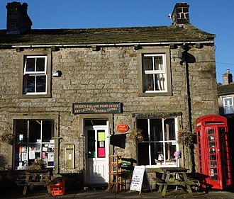 Hebden, North Yorkshire - Image: Hebden Post Office with gold postbox