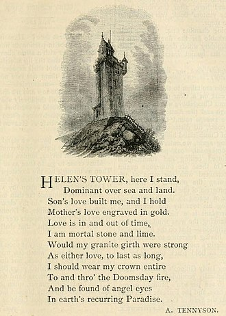 Helen's Tower - Tennyson's poem as published in Good Words in 1884, illustrated with a picture of Helen's Tower