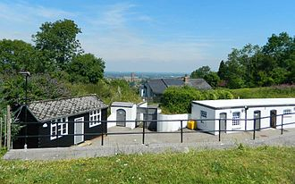 London Defence Positions - Henley Fort overlooking Guildford in Surrey, showing its commanding position high on the North Downs.