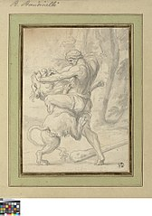 Hercules worstelt met de leeuw van Nemea