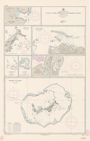 Hermit Islands -  Nautical chart, Hermit Islands on bottom part