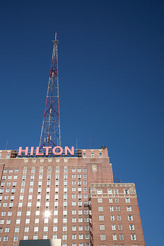 Hilton Milwaukee City Center - Upper floors of the Hilton Milwaukee City Center, featuring the antenna structure utilized over the years by many of the city's television and radio stations.