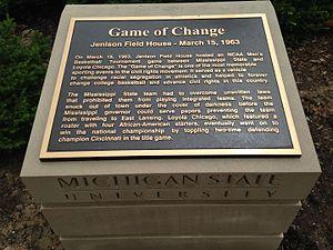 "Jenison Fieldhouse - Historic Marker of ""Game of Change"" at Jenison Fieldhouse, East Lansing, Michigan"