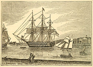 Portsmouth, Virginia - Harbor at Portsmouth in 1843; the Naval Hospital is visible in the background