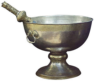 Holy water in Eastern Christianity - Vessel for holy water, with aspergillum, donation of Tsar Mikhail I Fyodorovich of Russia (Moscow, photo by Sergey Prokudin-Gorsky).