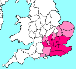 Map of counties in the Home Counties of England. Counties typically included are in pink, counties sometimes included are in light pink.