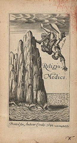 Фронтиспис первого, не авторизованного издания книги Т.Брауна Religio Medici (1642)