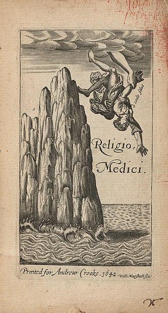 Religio Medici - Frontispiece of the 1642 pirated edition of Religio Medici.